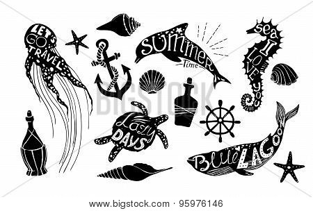Hand Drawn Vector Illustration - Marine Kit. Graphic Elements For Design Creation, Postcards, Banner
