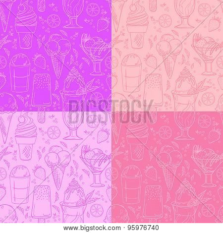 Hand Drawn Vector Illustration - Collection Of Ice Cream. Seamless Pattern