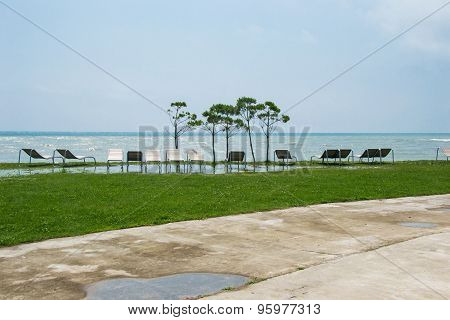 Seaside Resort, Chaise Longue, Black Sea, Grass, Trees, Puddle Sidewalk
