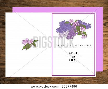 Greeting Card made of Hand Drawn Apple Tree and Lilac. Colorful Botanical Vintage Illustration.