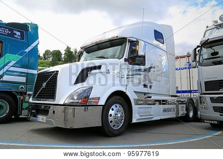 White Volvo VNL Truck Tractor In A Show
