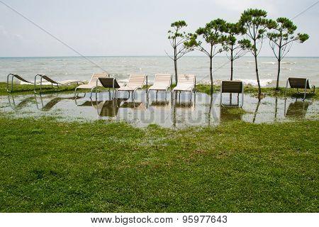seaside resort, chaise longue, black sea, grass, trees, Georgia, Anaklia