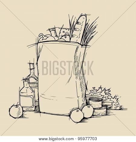 Hand Drawn Vector Illustration - Supermarket Shopping Bag With Healthy Food. Grocery Store.