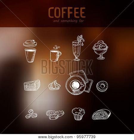Coffee Drawing Menu Icons Set At Dark Backdrop
