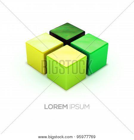 Vector Green Shadows Boxes Logo