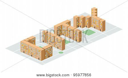 City. Isometric Building In The Form Of Letters. Yard People Living In Slums. Vector Illustration. N