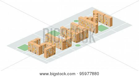 Slum District. Isometric City Buildings. Yard Among  Houses. Vector Illustration. Poor District On T