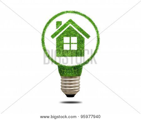 Green Grass Light Bulb With House Inside