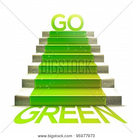Stone Ladder With Green Carpet And Go Green Message