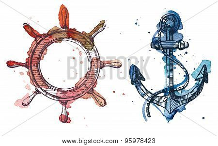 Watercolor And Ink Illustration Of An Anchor And A Steering Wheel