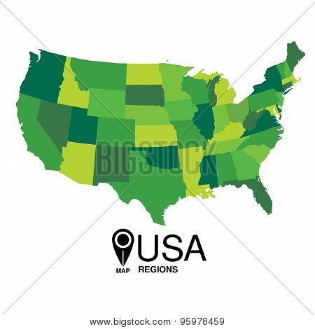 United States green Map detailed vector