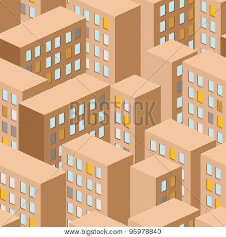 City Seamless Pattern. Vector City Panorama. Background Buildings Are Houses.