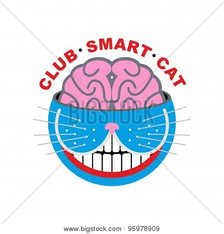 Logo Cat. Club Smart Cat. Animal And Brain. Emlema For Pet Lovers. Vector Illustration.