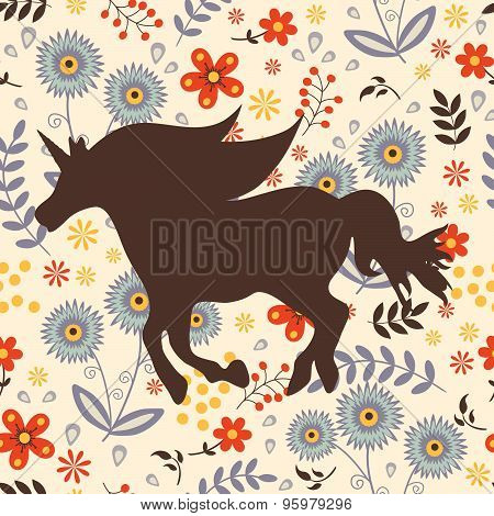 Beautiful silhouette Unicorn horse on a floral background