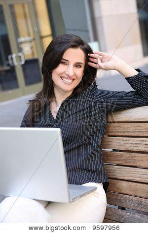 Pretty Business Woman On Laptop