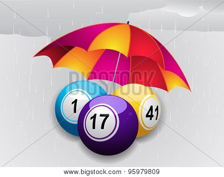 Winter Bingo Balls Under Umbrella