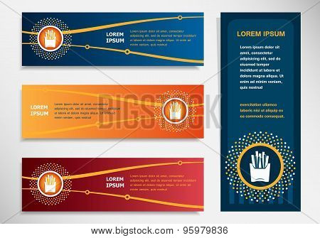 Fried Potatoes Icon On Modern Abstract Flyer, Banner, Brochure Design Template.