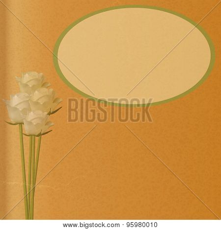 Roses And Label On Brown Paper