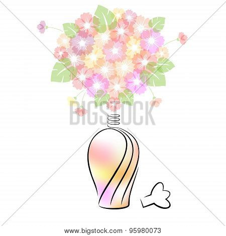 Perfume Bottle With Flowers.