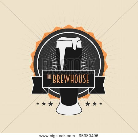 Brew House Vintage Logotype On Light Background For Beer House, Brewing Company, Beer House, Pub