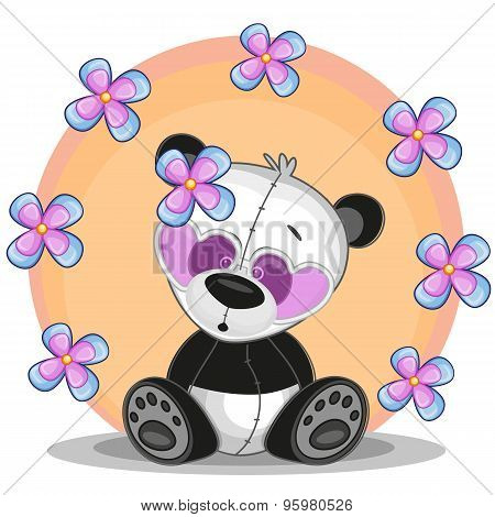 Panda With Flowers