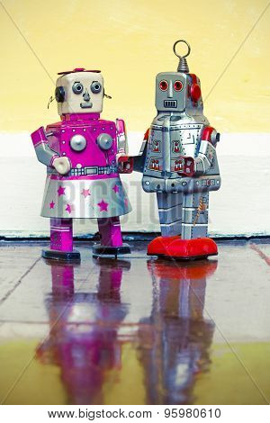 two robot toys in love