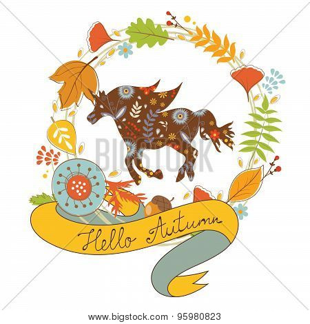 Hello autumn card with  floral unicorn horse and wreath