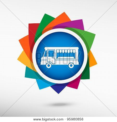 Food Truck Color Icon, Vector Illustration