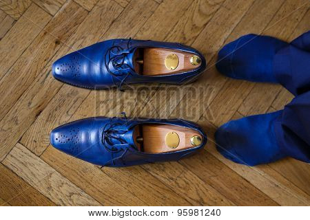 Man With Blue Shoes Close Up