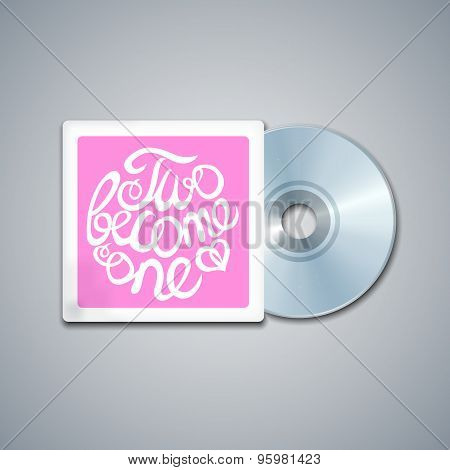 Mixed CD Cover. Mockup Template with Lettering Element