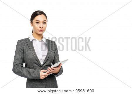 Professional Customer Service Woman With Digital Tablet