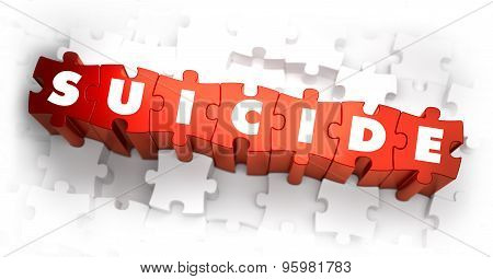 Suicide - Text on Red Puzzles.