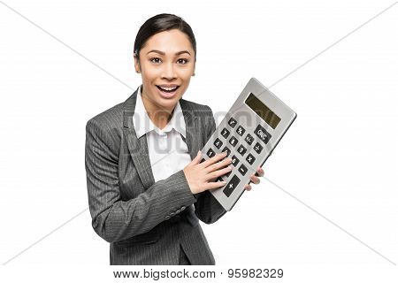 Smiling Woman With Big Calculator