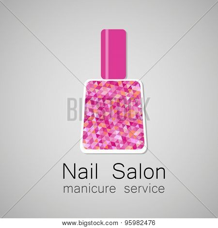 Nail Salon logo. Nail polish - a symbol of manicure. Design sign - nail care.