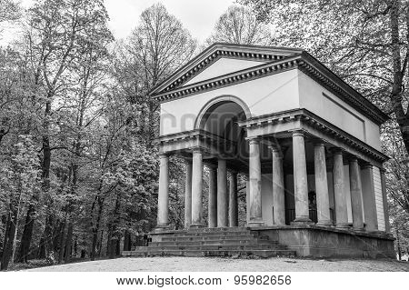 View Of An Ancient Greco-roman Temple In The Forest In Black And White