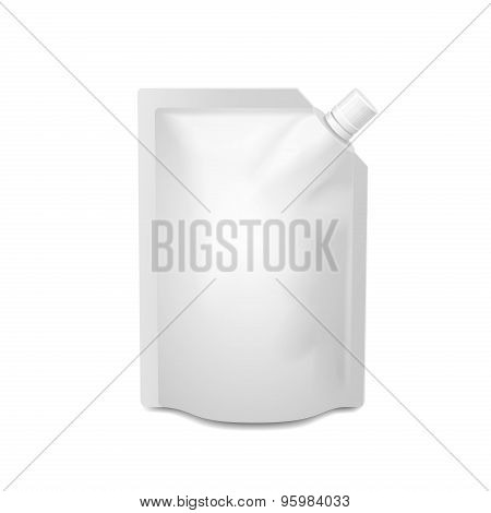 White blank doy-pack, doypack foil food or drink bag packaging with corner spout lid. Vector