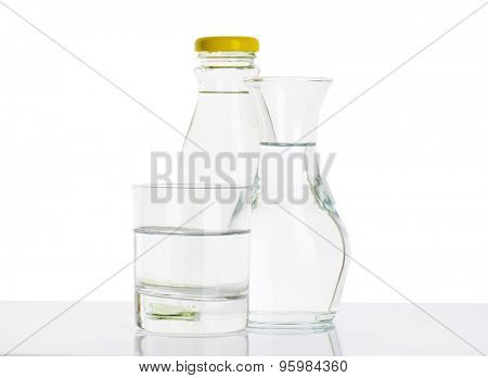 bottle, carafe and glass of fresh water