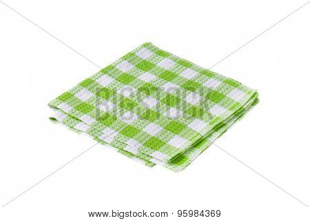 Checked green and white tea towel