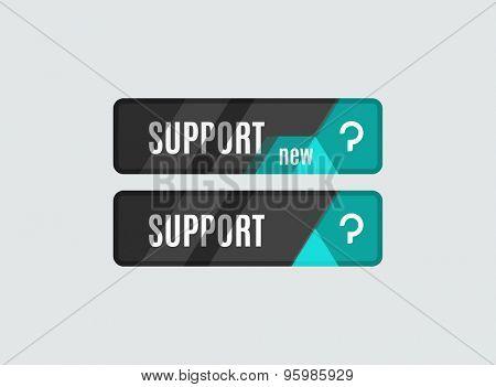 Support button, futuristic hi-tech UI design. Website, mobile applications icon, online design, business, gui or ui
