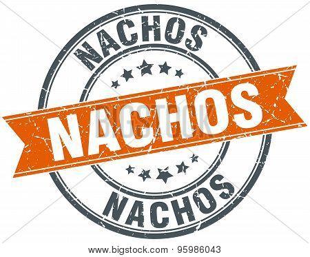Nachos Round Orange Grungy Vintage Isolated Stamp