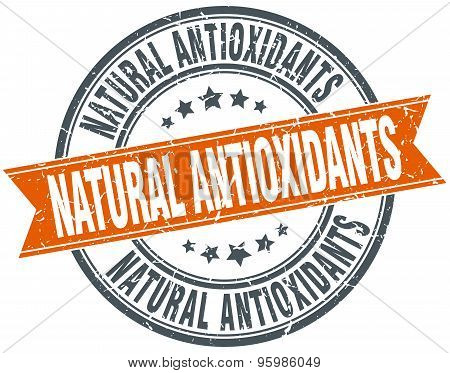 Natural Antioxidants Round Orange Grungy Vintage Isolated Stamp
