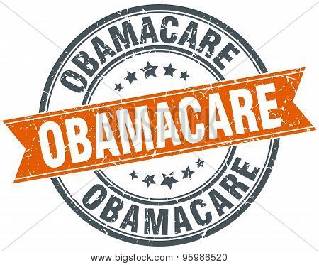 Obamacare Round Orange Grungy Vintage Isolated Stamp