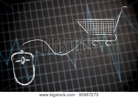 Computer Mouse Linked To Shopping Cart
