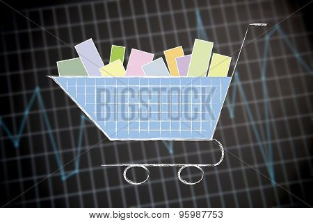 Shopping Cart On Financial Stats Background