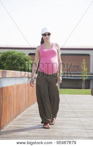 Pink Pregnant Walking Exterior