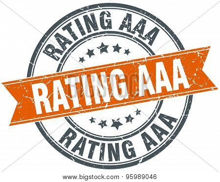 Rating Aaa Round Orange Grungy Vintage Isolated Stamp