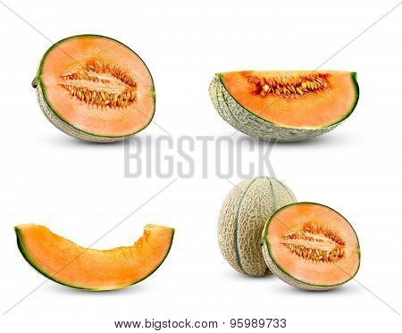 Set Collection Of Cantaloupe Melon.  Isolated On White Background.