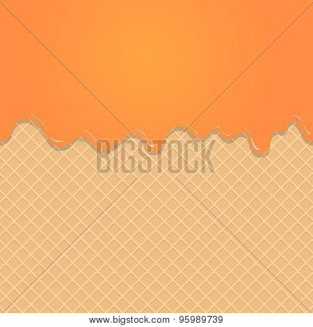 Caramel vanilla Melted on Wafer Background.  Vector Illustration