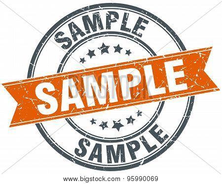 Sample Round Orange Grungy Vintage Isolated Stamp