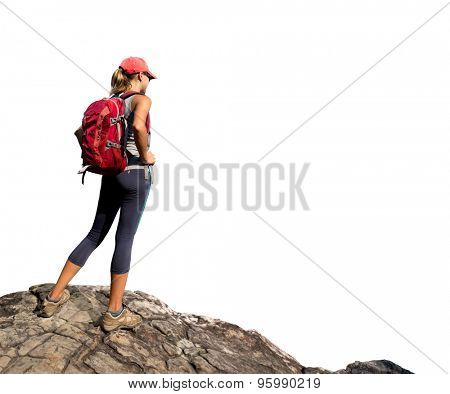Hiker with backpack standing on the rock isolated on white background